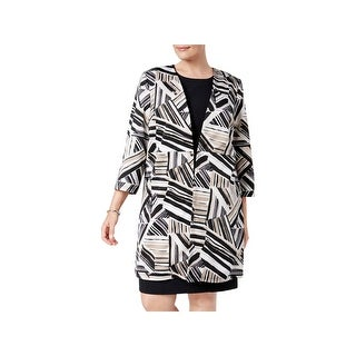 Kasper Womens Plus Long Coat Work Wear 3/4 Sleeve