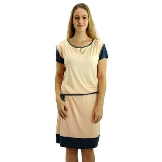 SignatureWeaves Women's Pink and Grey tunic dress with embellished neckline