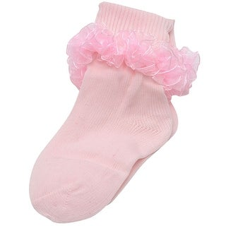 Piccolo Baby Girls Pink Frilly Ruffled Ankle Trim Ribbed Cuff Socks 3-4.5