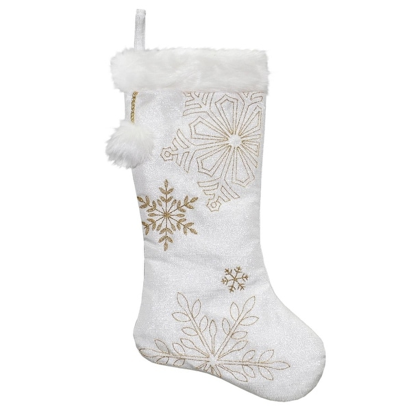 "20"" White Metallic Christmas Stocking with Gold Embroidered Snowflakes and Faux Fur cuff and Pom"