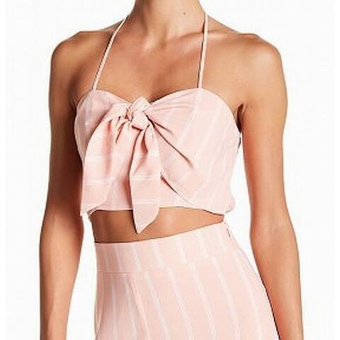 free Press Pink Striped Women's Size Large L Halter Crop Top