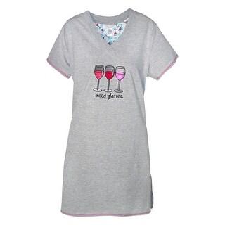 Rene Rofe Women's I Need Glasses V Neck Night Shirt - Grey
