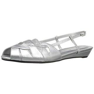 Annie Womens Kim Wedge Sandals Faux Leather Slingback