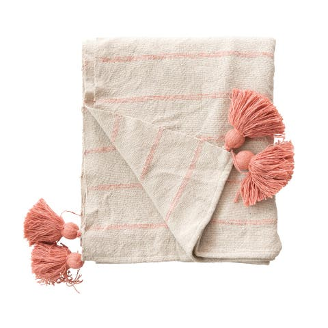 Stripes & Tassels Pink Woven Recycled Cotton Throw
