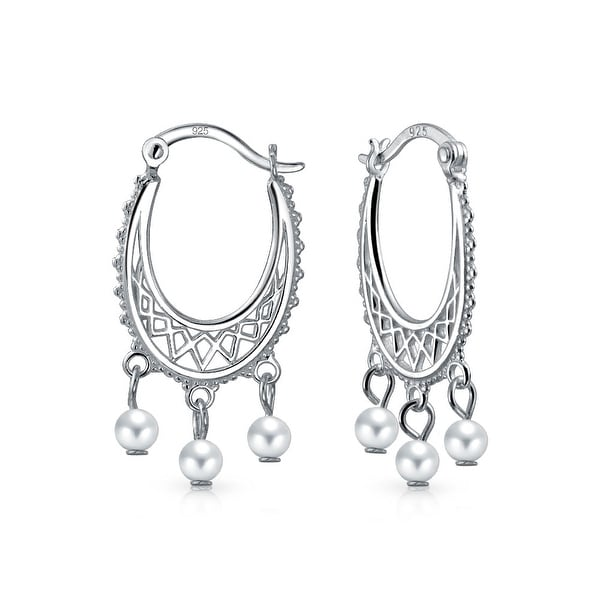 103b495827 Shop Bali Style White Freshwater Cultured Pearl Boho Filigree Hoop Earrings  For Women Teen 925 Sterling Silver - On Sale - Free Shipping On Orders Over  $45 ...