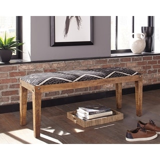 Link to Mariah Upholstered Mango Wood Bench Similar Items in Living Room Furniture