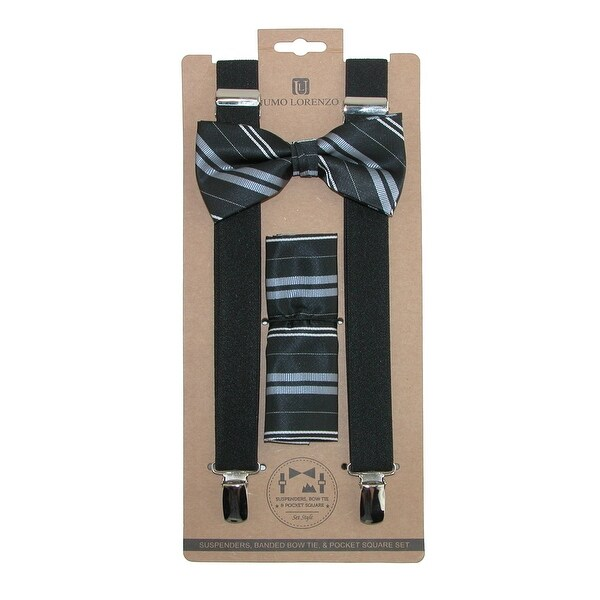 Umo Lorenzo Men's Double Stripe Bow Tie Handkerchief & Clip-End Suspender Set - One size