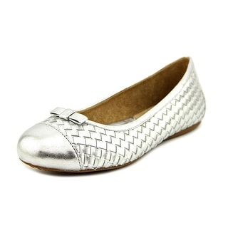 Softwalk Naperville Women N/S Round Toe Leather Silver Flats
