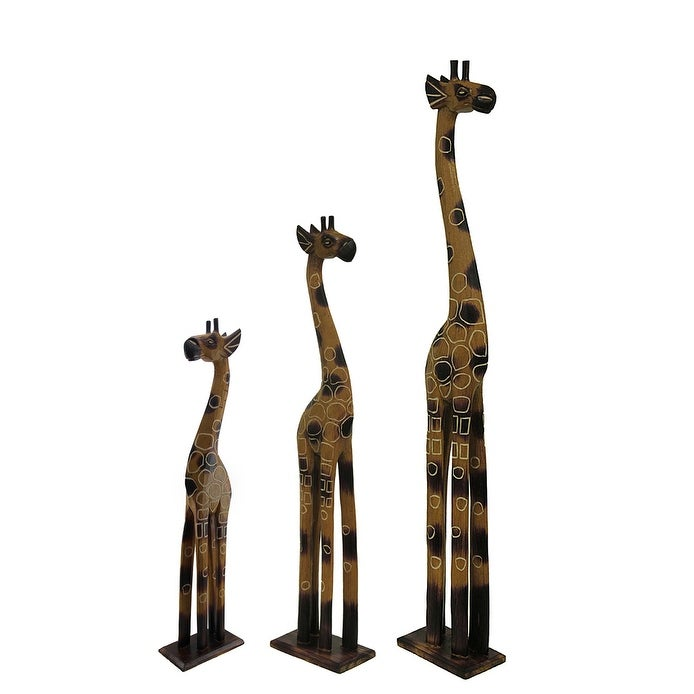Set Of 3 Hand Crafted Wooden Giraffe Statues 24 32 And 39 Inches 39 X 7 X 3 75 Inches Overstock 19855174