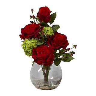 Nearly Natural Rose & Hydrangea Silk Flower Arrangement - Red