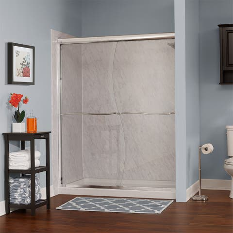 """Foremost CVSS6072-CS Cove 72"""" High x 60"""" Wide Sliding Framed Shower Door with 1/4"""" Clear S-Cut Glass"""