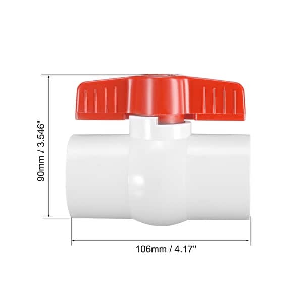 "PVC Ball Valve Water Pipe Threaded Ends 1-1//4/"" Inner Hole Diameter Red Gray"