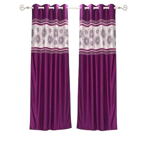 Wine Grommet Top Satin Curtain Panel Drape -Piece