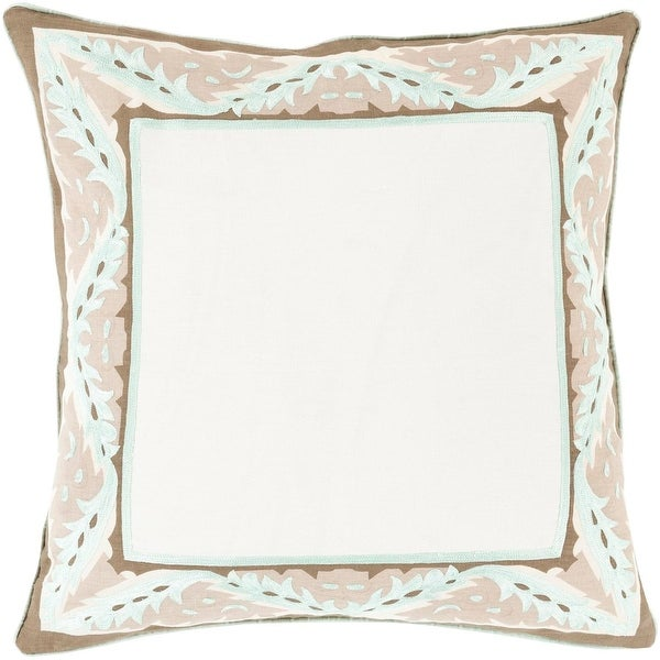 """22"""" Brown and White Floral Frame Designer Indoor Square Throw Pillow"""