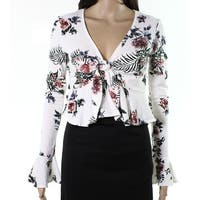 Polly & Esther Womens Large Floral Twist Crop Top