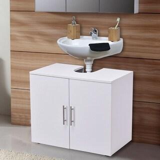 Costway Non Pedestal Under Sink Bathroom Storage Vanity Cabinet Space Saver Organizer - White