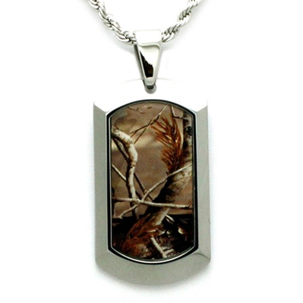 Tungsten Forest Camo Dog Tag Pendant - 24 inches