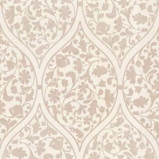 Brewster 450-67385 Adelaide Taupe Ogee Floral Wallpaper - taupe ogee