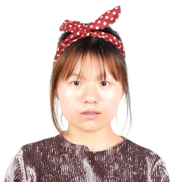 Lady Dots Pattern Wired Head Scarf Wrap Twist Bowknot Headband Headwear  Hairhoop e16326f2b72