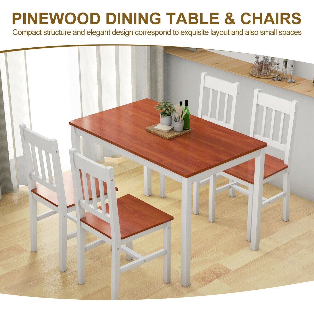 Costway 5PCS Pine Wood Dinette Dining Set Table and 4 Chairs Home Kitchen  Furniture - White and Brown