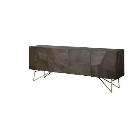 Darwin 80x17.5 Brown Solid Wood Gold Metal Base 4 Cabinet Door Sideboard - 80.1L x 17.3W x 29.9H