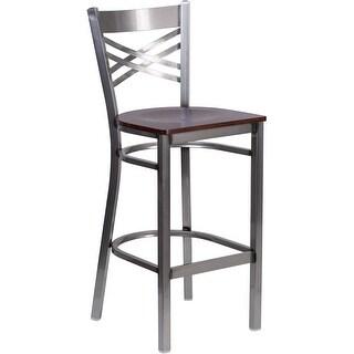 "Dyersburg 29"" Clear Coated ''X'' Style Back Metal Restaurant/Pub Barstool, Walnut Wood Seat"