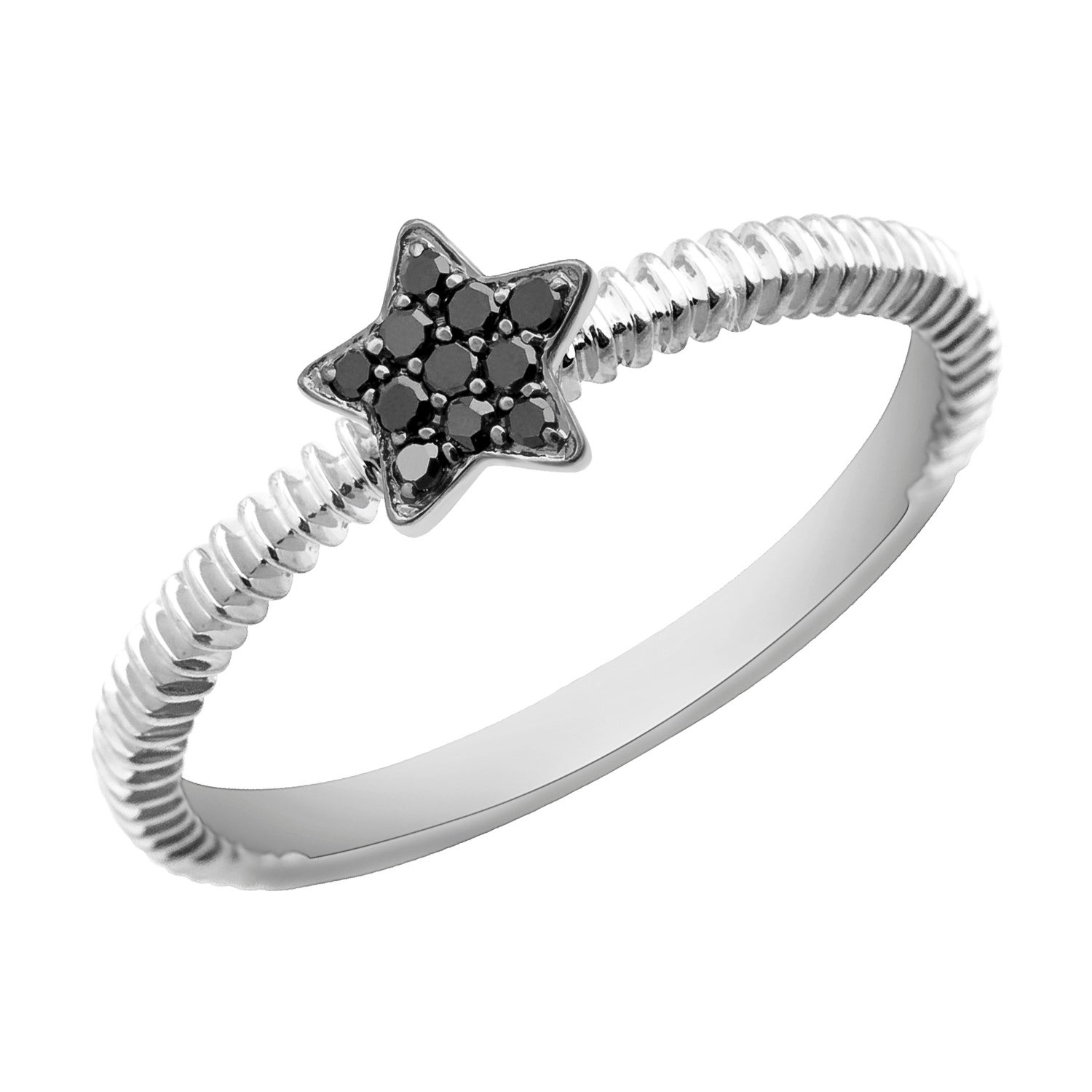 Prism Jewel 0.08Ct Round Color Diamond Star Shaped Fancy Ring - Black - Thumbnail 0