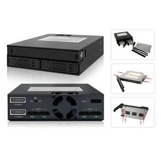 Icy Dock 2 Bay 2.5 Hdd Ssd Hot Swap Backplane Cage Mobile Rack With Slim Odd Tray For 5.25 Drive Bay - Tougharmor Mb994i