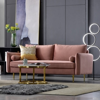 Ovios High Back Couch,Mid-Centry Colorful Upholstered Sofa Metal Golden Leg & Brown Wood  for Living Room or Bedroom.