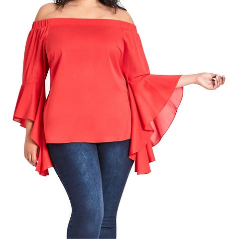 City Chic Womens Blouse Red 22W XL/22 Plus Angel Sleeve Off-the-Shoulder