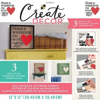 "Dcwv Create Decor Self-Adhesive Lettering & Stencil 12""X12""-Home Is Where I'm With You-Red & Black"