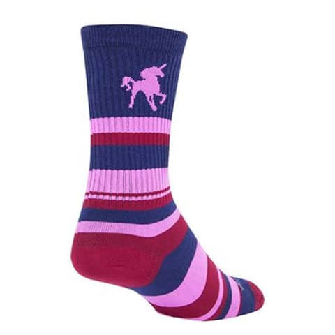 SockGuy Crew 6in Pink Unicorn Cycling/Running Socks - pink unicorn