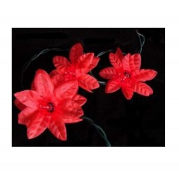 Set of 20 Red Poinsettia Holiday Flower Christmas Lights - Green Wire