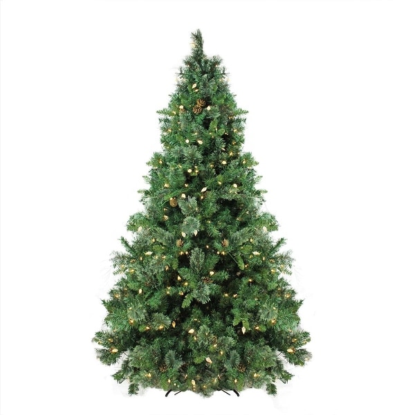 7.5' Pre-Lit Mixed Cashmere Pine Artificial Christmas Tree - Warm White LED Lights - green