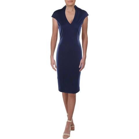 Alexia Admor Womens Sheath Dress V-Neck Midi - Navy - S