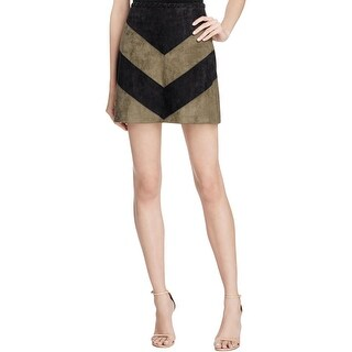 ASTR Womens Mini Skirt Faux Suede Chevron