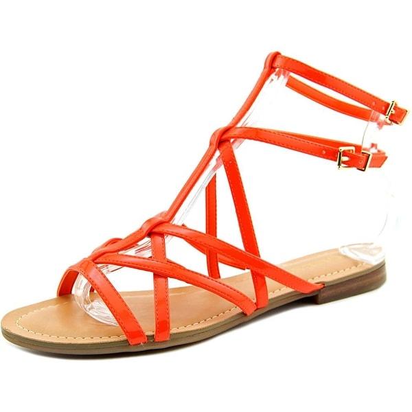 Guess Mannie Women Open Toe Synthetic Orange Gladiator Sandal