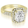 1.56 cttw. 14K Yellow Gold Emerald And Round Cut Halo Diamond Bridal Set - Thumbnail 0