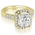 1.56 cttw. 14K Yellow Gold Emerald And Round Cut Halo Diamond Bridal Set - Thumbnail 0