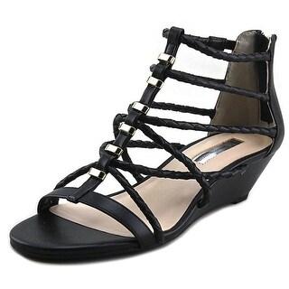 INC International Concepts Makera Women  Open Toe Leather Black Wedge Sandal