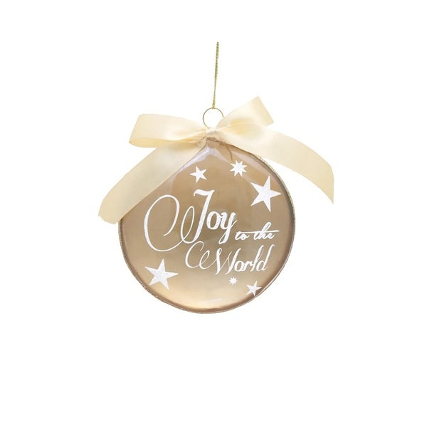 """4"""" Decorative Gold Joy to the World Glass Disc Christmas Ornament"""