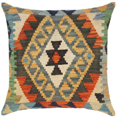 Tribal Rogelio Hand-Woven Turkish Kilim Throw Pillow