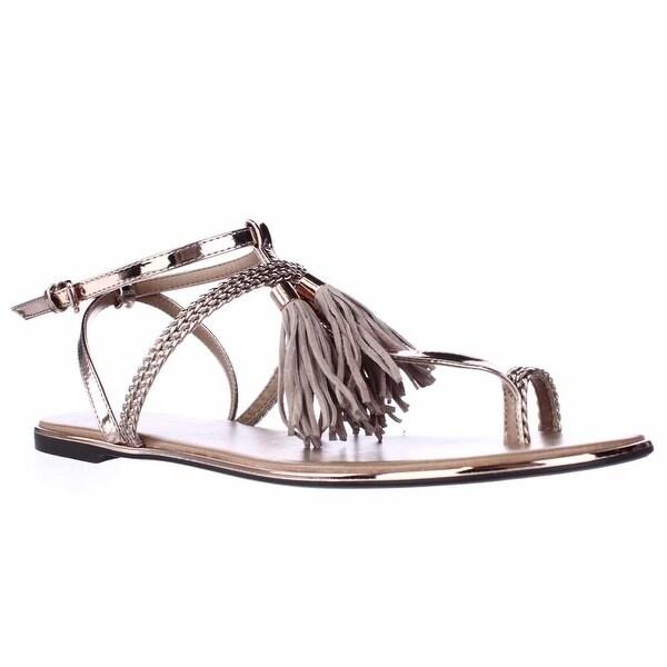 Report Citrine Ring-Toe Flat Sandals, Rose Gold