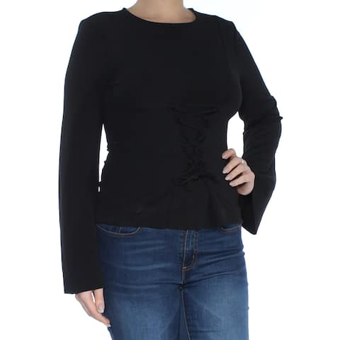 BAR III Womens Black Tie Bell Sleeve Jewel Neck Top Size: L