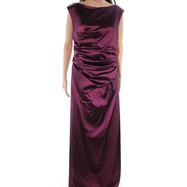 f0c28cf9c55 Shop Talbot Runhof Red Burgundy Pleated Waist Women Size 14 Satin ...