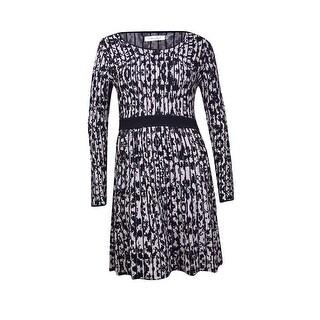 Calvin Klein Women's Ribbed Intarsia A-Line Sweater Dress (XL, Black Combo) - XL