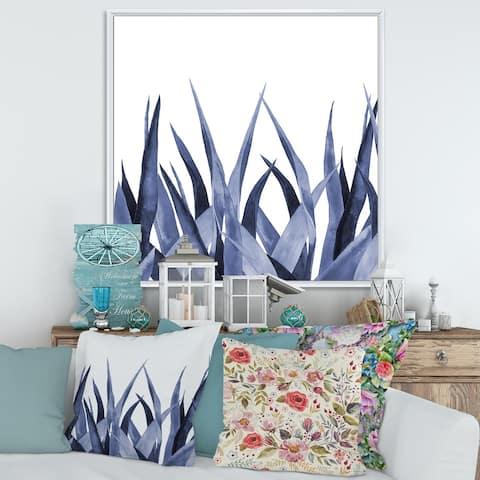 Designart 'Navy Blue Agave Leaves' Traditional Framed Canvas Wall Art Print