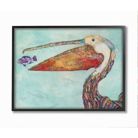 Stupell Industries Pelican's Lost Supper Fish and Patterned Feathers Framed Wall Art - Blue