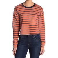 Code X Mode Orange Womens Size XL Scoop Neck Striped Long Sleeve Top 387