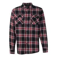 Burnside Yarn-Dyed Long Sleeve Flannel Shirt - Red - 2XL